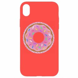 Чехол для iPhone XR Pink donut on a background of patterns