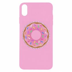 Чехол для iPhone Xs Max Pink donut on a background of patterns