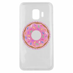 Чохол для Samsung J2 Core Pink donut on a background of patterns