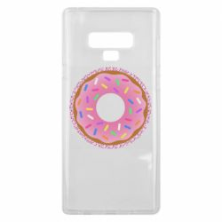 Чохол для Samsung Note 9 Pink donut on a background of patterns