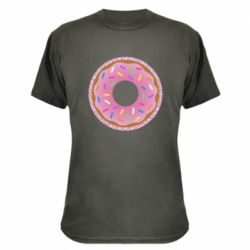 Камуфляжна футболка Pink donut on a background of patterns