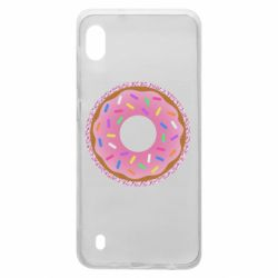 Чохол для Samsung A10 Pink donut on a background of patterns