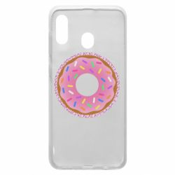 Чохол для Samsung A20 Pink donut on a background of patterns