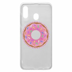 Чохол для Samsung A30 Pink donut on a background of patterns
