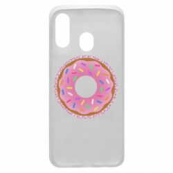 Чохол для Samsung A40 Pink donut on a background of patterns