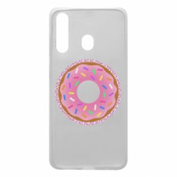 Чохол для Samsung A60 Pink donut on a background of patterns