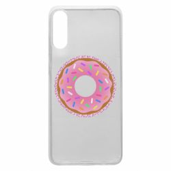 Чохол для Samsung A70 Pink donut on a background of patterns