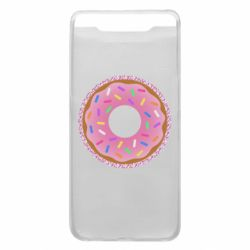 Чохол для Samsung A80 Pink donut on a background of patterns