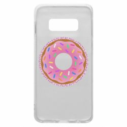 Чехол для Samsung S10e Pink donut on a background of patterns
