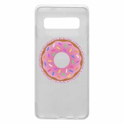Чохол для Samsung S10 Pink donut on a background of patterns