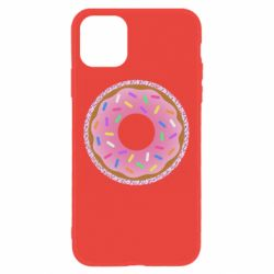 Чехол для iPhone 11 Pink donut on a background of patterns