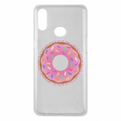Чохол для Samsung A10s Pink donut on a background of patterns