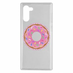 Чохол для Samsung Note 10 Pink donut on a background of patterns