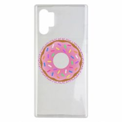 Чохол для Samsung Note 10 Plus Pink donut on a background of patterns