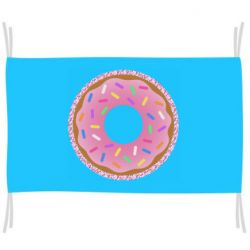 Прапор Pink donut on a background of patterns