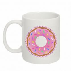 Кружка 320ml Pink donut on a background of patterns