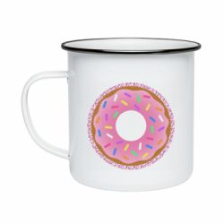 Кружка емальована Pink donut on a background of patterns