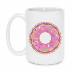 Кружка 420ml Pink donut on a background of patterns