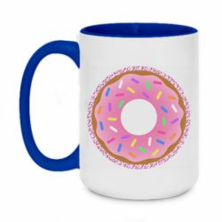 Кружка двоколірна 420ml Pink donut on a background of patterns