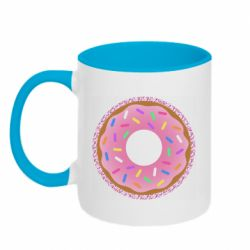 Кружка двоколірна 320ml Pink donut on a background of patterns