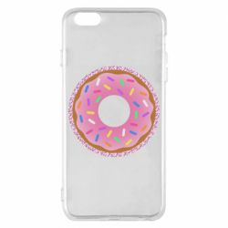 Чехол для iPhone 6 Plus/6S Plus Pink donut on a background of patterns