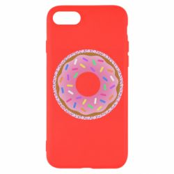 Чехол для iPhone 7 Pink donut on a background of patterns