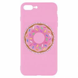 Чехол для iPhone 7 Plus Pink donut on a background of patterns