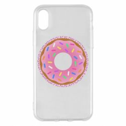Чехол для iPhone X/Xs Pink donut on a background of patterns