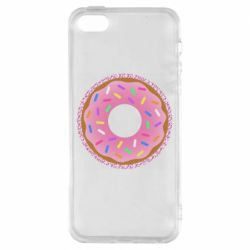Чохол для iphone 5/5S/SE Pink donut on a background of patterns