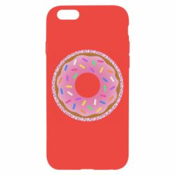 Чехол для iPhone 6/6S Pink donut on a background of patterns