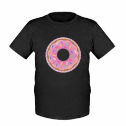 Дитяча футболка Pink donut on a background of patterns
