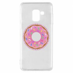Чохол для Samsung A8 2018 Pink donut on a background of patterns