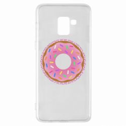 Чохол для Samsung A8+ 2018 Pink donut on a background of patterns