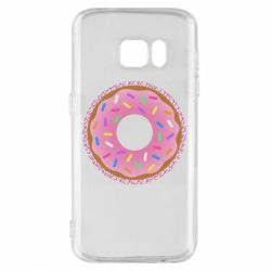 Чохол для Samsung S7 Pink donut on a background of patterns