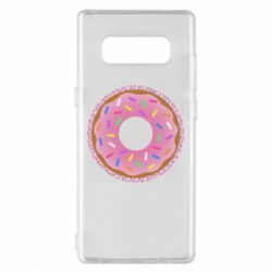 Чохол для Samsung Note 8 Pink donut on a background of patterns