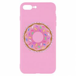 Чехол для iPhone 8 Plus Pink donut on a background of patterns