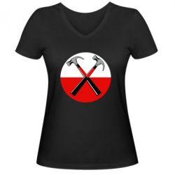 Женская футболка с V-образным вырезом Pink Floyd Main Logo