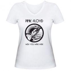 Женская футболка с V-образным вырезом Pink Floyd Wish You - FatLine
