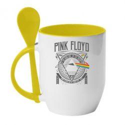 Кружка з керамічною ложкою Pink Floyd