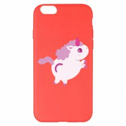 Чехол для iPhone 6 Plus/6S Plus Pink Unicorn and rainbow