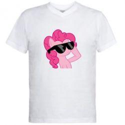 Мужская футболка  с V-образным вырезом Pinkie Pie Cool