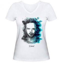 Женская футболка с V-образным вырезом Pinkman Bitch - FatLine