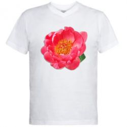 Мужская футболка  с V-образным вырезом Пион