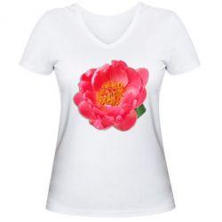 Женская футболка с V-образным вырезом Пион