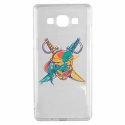 Чехол для Samsung A5 2015 Pirate skull and paint strokes