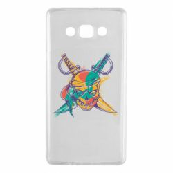 Чехол для Samsung A7 2015 Pirate skull and paint strokes