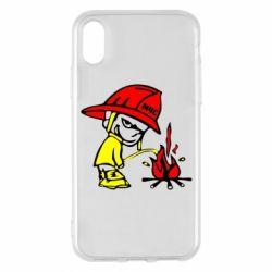 Чехол для iPhone X/Xs Писающий хулиган-пожарный
