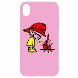 Чехол для iPhone XR Писающий хулиган-пожарный