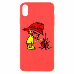 Чехол для iPhone Xs Max Писающий хулиган-пожарный