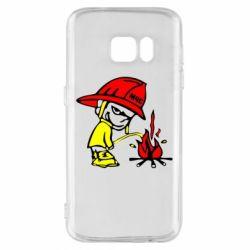 Чехол для Samsung S7 Писающий хулиган-пожарный